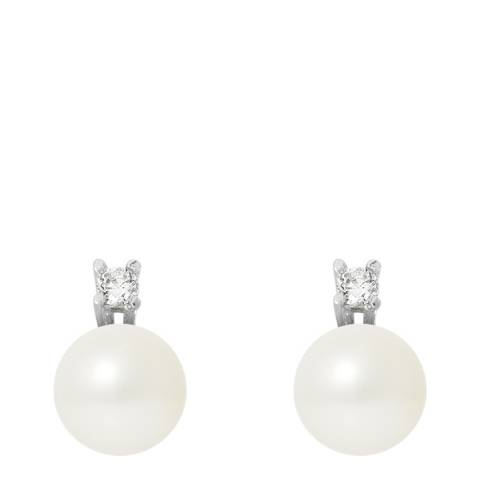 Perlinea Pearls Silver Earrings with Natural Freshwater Pearls 9 mm