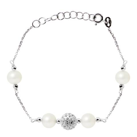 Manufacture Royale White Crystal Bracelet with Natural Freshwater Pearls
