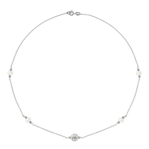 Manufacture Royale White Crystal Necklace Freshwater Pearls  5-6 mm
