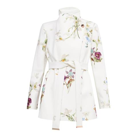Ted Baker Ivory Phillis Spring Meadow Short Wrap Coat