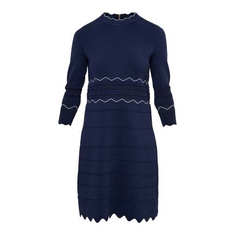 Ted Baker Navy Coletie Scallop Edge Knitted Tunic
