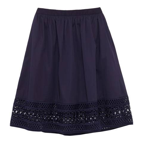 Ted Baker Navy Abygail Cotton Contrast Trim Skirt
