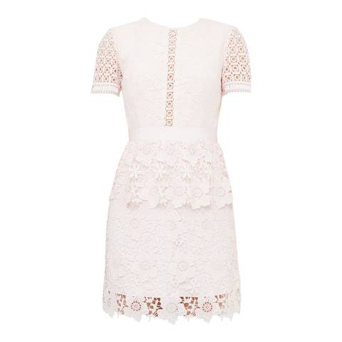 Ted Baker Baby Pink Dixa Layered Lace Skater Dress