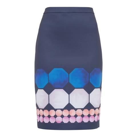 Ted Baker Navy Jaidey Marina Mosaic Pencil Skirt