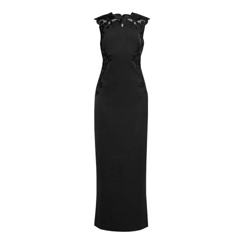 Ted Baker Black Ellil Embroidered Open Back Maxi Dress