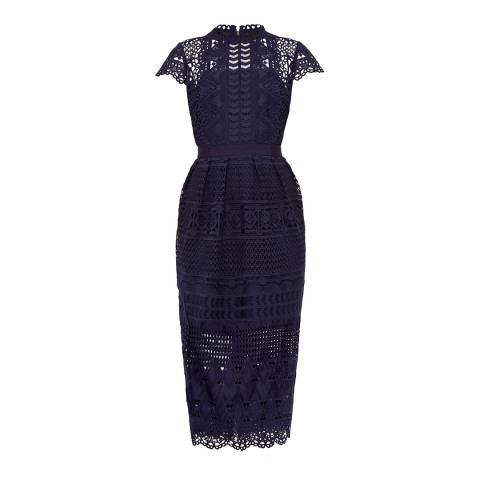 Ted Baker Navy Emelia Lace Mash Up Midi Dress
