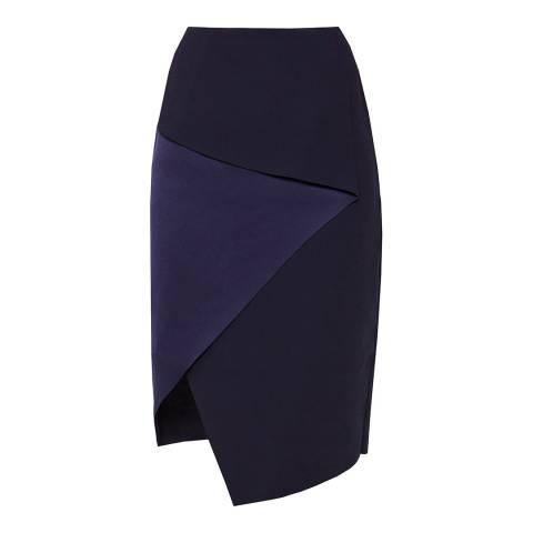 Ted Baker Navy Tobola Asymmetric Fold Pencil Skirt