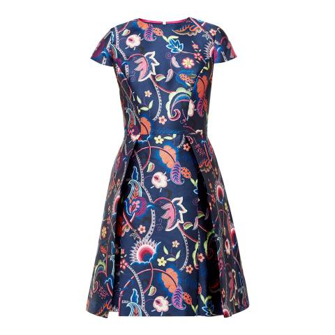 Ted Baker Dark Blue Fluxam Folk Foliage Skater Dress