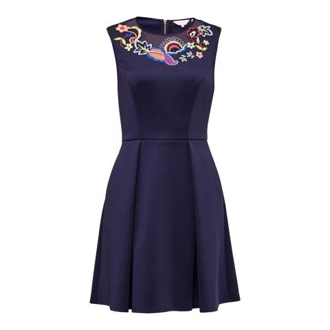 Ted Baker Dark Blue Lavensa Neoprene Skater Dress