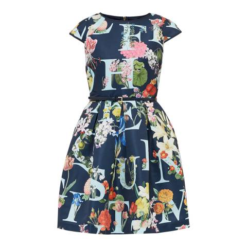 Ted Baker Navy Lusara Az Ditzy Ottoman Skater Dress