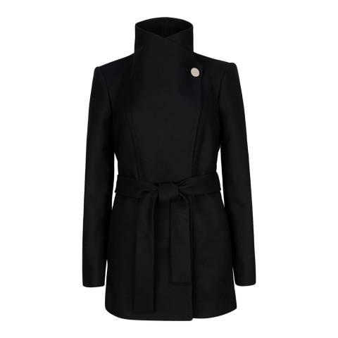 Ted Baker Black Paria Short Button Detail Wrap Coat