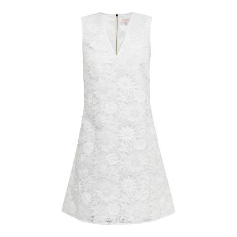 Ted Baker White Soniah V Neck Applique Lace Dress