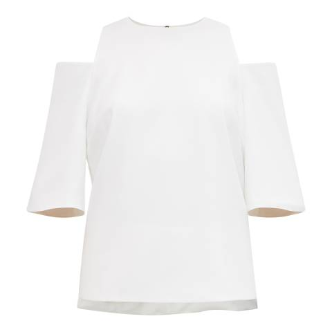 Ted Baker Ecru Careo Cut Out Shoulder Top