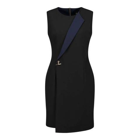 Ted Baker Black Tasmine Tuxedo Contrast Fold Dress