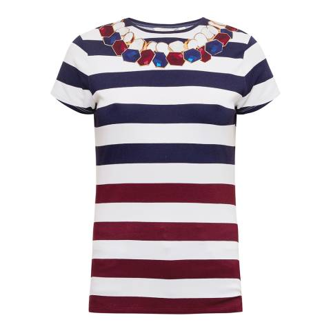 Ted Baker Navy Danilyn Rowing Stripe Fitted T-Shirt