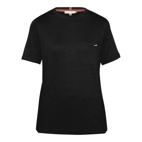 Ted Baker Black Harlaa Square Cut Linen T-Shirt