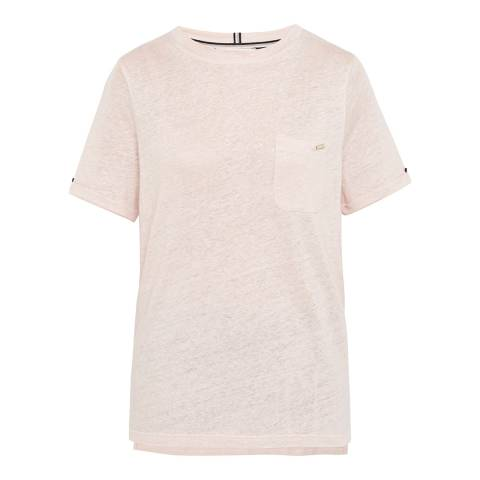Ted Baker Nude Pink Harlaa Square Cut Linen T-Shirt