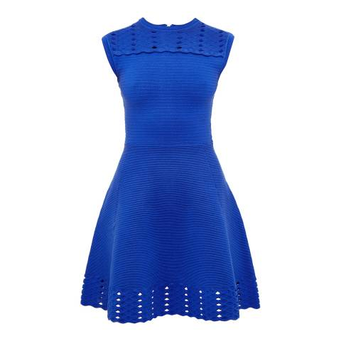 Ted Baker Blue Zaralie Jacquard Panel Skater Dress