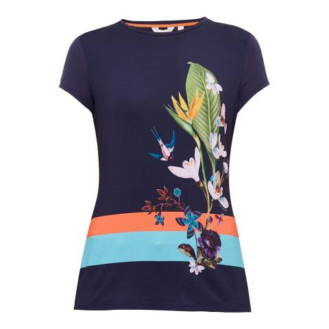 Ted Baker Navy Immyeni Tropical Oasis Fitted T-Shirt