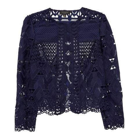 Ted Baker Navy Dalmy Lace Panelled Cropped Jacket