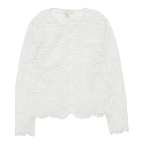 Ted Baker White Dalmy Lace Panelled Cropped Jacket