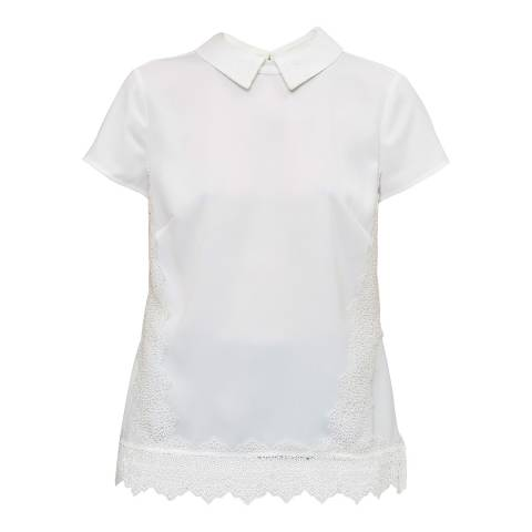 Ted Baker White Marnee Collar Cap Sleeve Lace Insert Top