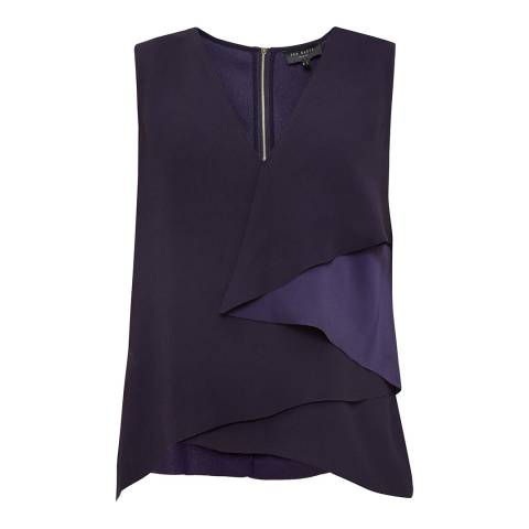 Ted Baker Navy Mayye Asymmetric Fold Laser Cut Top