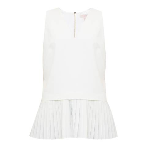 Ted Baker Ivory Oriya Pleat Hem V Neck Top