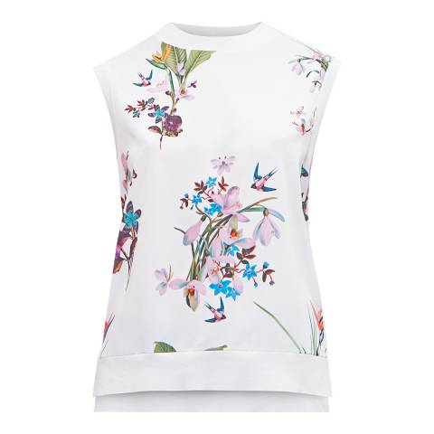 Ted Baker White Pueto Tropical Oasis Sleeveless Jumper