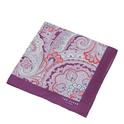 Ted Baker Men's Purple Paisley Silk Pocket Square