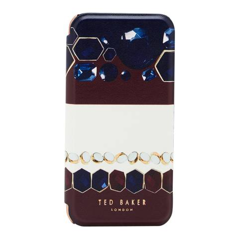 Ted Baker Womens Navy Peetri Mirror Rowing Stripe Folio Case