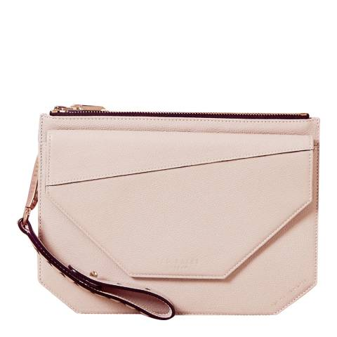 Ted Baker Nude Pink Cassis Flap Detail Leather Clutch Bag