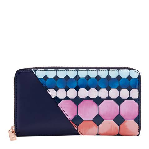 Ted Baker Womens Navy Arrica Mosaic Leather Matinee Purse