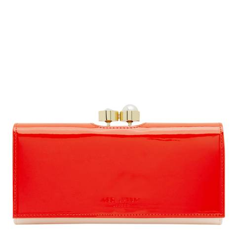 Ted Baker Womens Bright Orange Cecilie Pearl Bobble Leather Matinee Purse