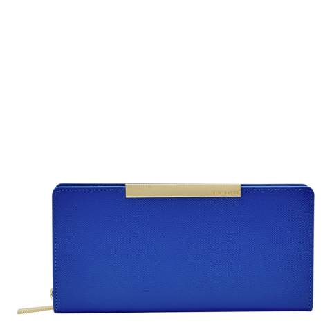 Ted Baker Womens Blue Darrah Crosshatch Textured Bar Zip Matinee Purse