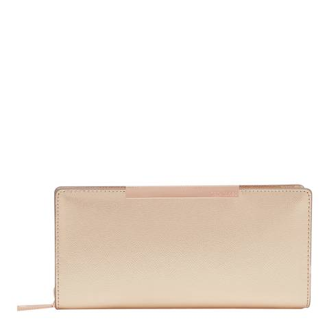 Ted Baker Womens Rose Gold Darrah Crosshatch Textured Bar Zip Matinee Purse