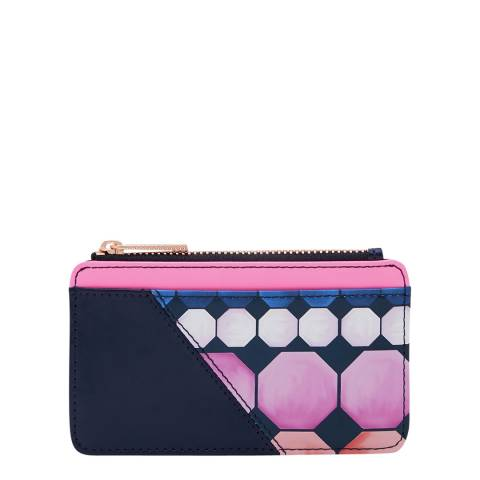 Ted Baker Womens Navy Marina Mosaic Leather Card Holder