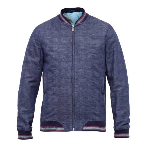 Ted Baker Bright Blue Reactiv Checked Bomber Jacket