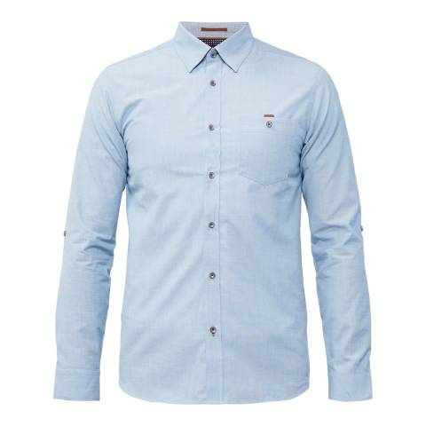 Ted Baker Blue Newway End On End Semi Plain Shirt