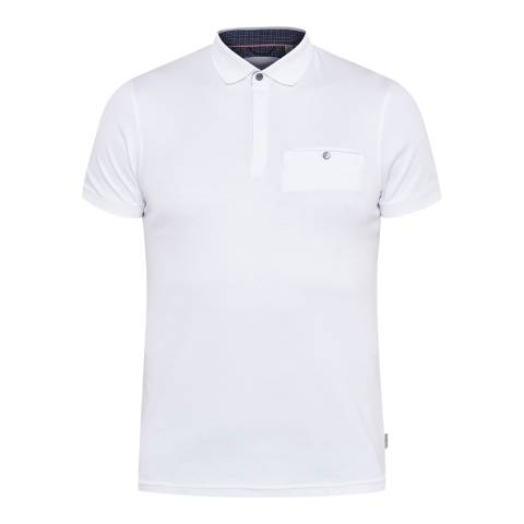 Ted Baker White Charmen Flat Knit Collar Polo Shirt