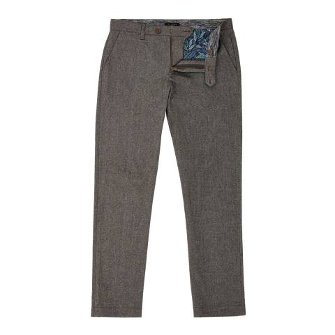 Ted Baker Charcoal Classy Classic Fit Brushed Trousers
