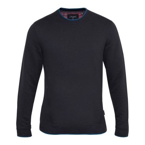 Ted Baker Navy Rover Textured Panel Sweatshirt