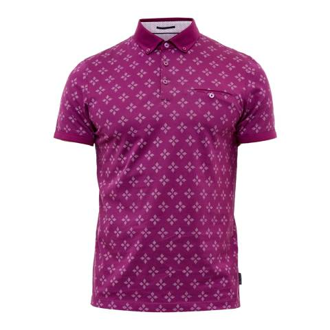 Ted Baker Purple Fella All Over Diamond Geo Polo Shirt