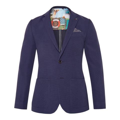 Ted Baker Navy Melvis Textured Tencel Jacket
