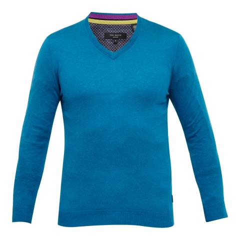 Ted Baker Turquoise Alterna Silk Blend V-Neck