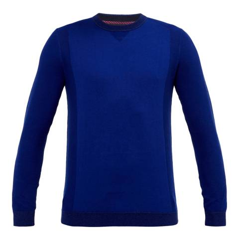 Ted Baker Bright Blue Textured Sleeve Crew Neck Jumper