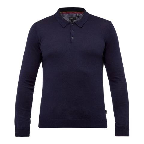 Ted Baker Navy Hustler Silk Blend Long Sleeve Polo