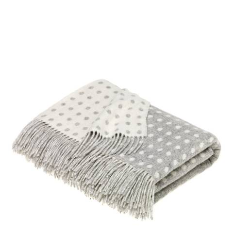 Bronte by Moon Grey Spot Lambswool Throw 140x185cm