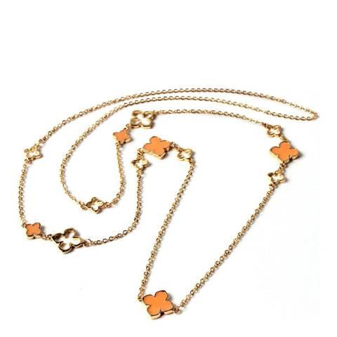 Amrita Singh Peach/Gold Noho Petite Clover Brass Necklace