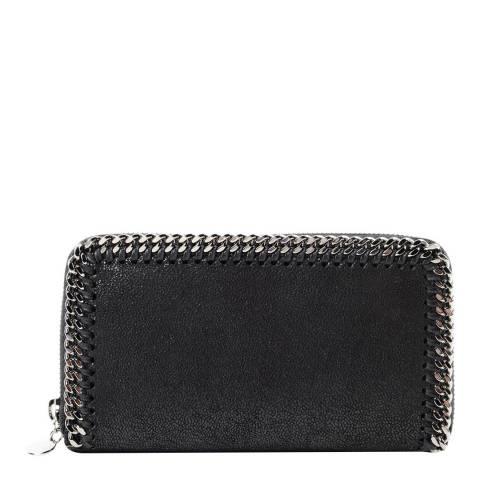 Stella McCartney Black Falabella Zip Around Wallet